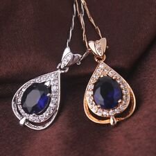 Wedding jewelry!18k gold/white gold filled  woman oval sapphire pendant necklace