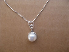 Pearl Bead Necklace Sterling Silver Chain Bridal Jewelry June Birthstone Minimal