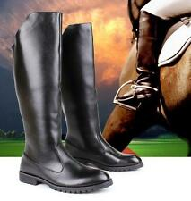 Fashion Mens Knee High Boots Gothic Riding Motorcycle Black Biker Military Soes