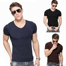 Men's Muscle Fit Slim Cotton V-Neck 7 colors Short Sleeve Casual T-Shirt Tops