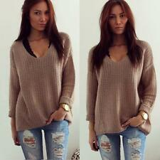 Fashion Womens Long Sleeve Casual Sweaters V-Neck Loose Pullover Blouse Tops New