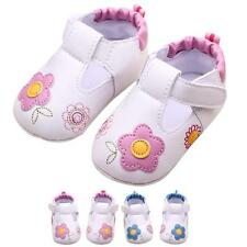 Baby Kids First Walker Shoes Flowers PU Leater Soft Sole Baby Toddler Crib Shoes