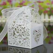 20Pcs Hollow Out Pattern Candy Gift Boxes Wrapping Wedding Decor Bags + Ribbons