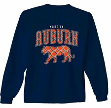 Auburn Tigers Long Sleeve T-Shirt - Silhouette Pattern - Tee Color Navy