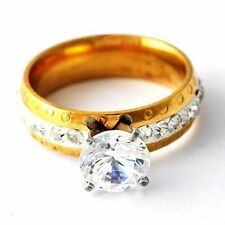 fashion jewelry CZ Yellow Gold Filled Womens Ring size 7 8 9 10