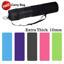 Free Postage New 10mm NBR Super Thick Pilate Yoga Gym Mat NonSlip Free Carry Bag