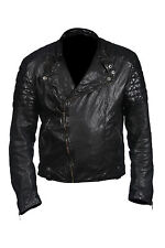 Hampton New Mens Casual Collerless Retro Biker Jacket 100% Black Nappa Leather
