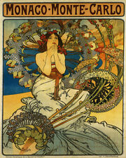 Monaco Monte Carlo Lady by Alphonse Mucha 16X20 Vintage Poster FREE S/H in USA