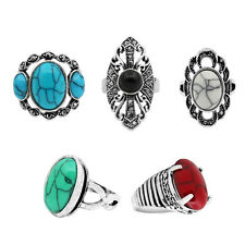 Wholesale Lot 5pcs Antique Silver Plated Color Design Mixed Turquoise Rings