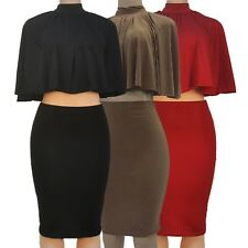 Lady Two-piece Suit Dress Cape Tops Lace-up Backless Elegant Skirt Autumn/Fall