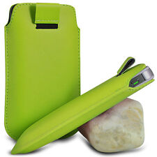 GREEN PULL TAB LEATHER POUCH SKIN COVER CASE SLEEVE PU HOLSTER FOR VARIOUS PHONE