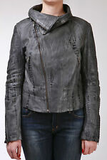 Ladies Grey Croc Real Leather Jacket Vintage Look Double Zip Removable Collar