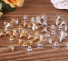 50Pcs Golden Ear Post Nuts Earring Backs Stoppers Jewelry Findings Gift Silver C