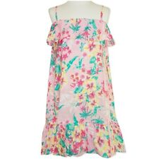 NEW GIRLS PINK RUFFLED FLORAL DRESS SIZE 1,2,3,4,5,6,7