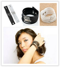 Punk Multilayer Womens Cuff Bangle Gothic Chain Leather Bracelet Jewelry Unisex