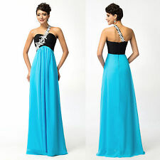 PROMOTION❤❤ LONG One Shoulder Turquoise Evening Prom Party Gowns Cocktail Dress