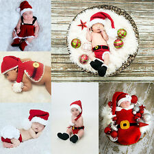 Newborn Baby Crochet Knitted Christmas Santa Hat Set Outfit Photo Props Costume