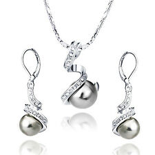 women 18k white gold swarovski crystal black pearl necklace earrings jewelry set