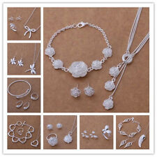 Womens 925Silver Jewelry Bangle/Necklace/ Bracelet /Earrings/Ring Sets+Gift  Box