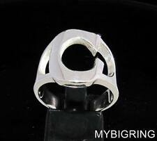 STERLING SILVER MEN'S INITIAL RING ONE 1 BOLD CAPITAL BLOCK LETTER C ANY SIZE