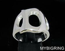 STERLING SILVER MEN'S INITIAL RING ONE 1 BOLD CAPITAL BLOCK LETTER D ANY SIZE