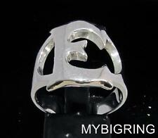 STERLING SILVER MEN'S INITIAL RING ONE 1 BOLD CAPITAL BLOCK LETTER E ANY SIZE