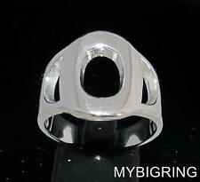 STERLING SILVER MEN'S INITIAL RING ONE 1 BOLD CAPITAL BLOCK LETTER O ANY SIZE
