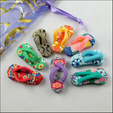 Wholesale New Charms Mixed Polymer Fimo Clay Slippers Pendants 12.5x27mm