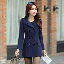 Korean Women Fashion Double Breasted Woolen Trench Coat Slim Fit Outwear Jacket