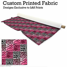 PINK ANIMAL PRINT FABRIC PER METRE LYCRA SATIN JERSEY CHIFFON FROM