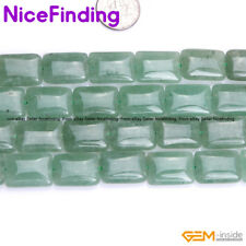 "Rectangle Green Aventurine Jade Stone Beads For Jewelry Making Gemstone 15"" DIY"