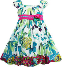 Girls Dress Flower Traditional Chinese Painting Style Green Size 4-8