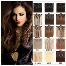 """18"""" 7PCS/Set Full Head Clip In 100% Real Remy Human Hair Extensions Straight 70g"""