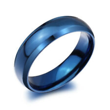 Mens Women Blue High quality Titanium 316L Stainless Steel Ring Size 6-12