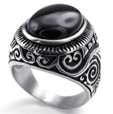 Men's Large Natural Oval  Gemstone Black Onyx 316L Stainless Steel Ring 8 to 15