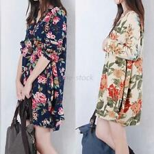 Womens V-Neck Maternity Linen Loose Long Sleeve Pregnant Floral Shirt Dress F46