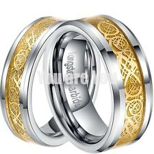 Dragon Tungsten Carbide Celtic Ring Mens Womens Jewelry Wedding Band 18K Gold