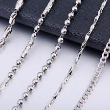 Pure 925 Sterling Silver Charm Jewelery Men's Bead/Curb Chain Necklace Gift 9Q9I