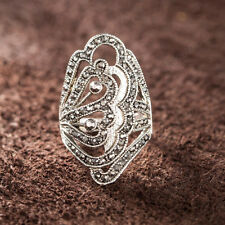 Fashion Marcasite Swarovski Crystal Cocktail Ring 18k White Gold Plated Jewelry