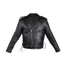 Black Drum Dyed Premium Naked Leather Motorcycle Biker Jacket Reg$249 Size 36/38