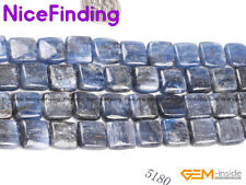 """Square Natural Blue Kyanite Stone Beads For Jewelry Making Gemstone 15"""" In Bulk"""