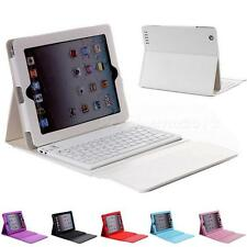For New Apple iPad 4 3 2 Stand Leather Case Cover With Bluetooth Keyboard JNEG