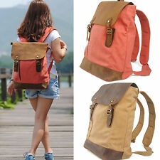 Women's Fashion Canvas Leather Backpack Schoolbag Bookbag Travel Laptop Bag #659