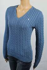 Ralph Lauren Blue Cable Knit V-neck Sweater White LRL NWT