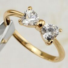 Size 5 6 7 8 9 10 Cute Double Heart White CZ Gems Jewelry Gold Filled Ring R2315