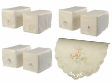 Standard Square Floral Armcaps Embroidered Flower Scallop Trim Sofa Settee Cover