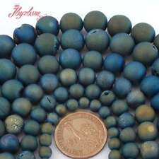 Round Light Blue Metallic Coated Druzy Agate Gemstone Spacer Beads Strand 15""