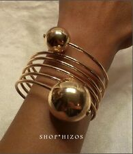 GOLD or SILVER OVERSIZED METAL SPIRAL DOUBLE BALL STATEMENT BRACELET NEW