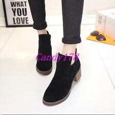 New Womens Faux Suede Leather Ankle Boots Flat Low Heel Ankle Boot Zip Up Shoes