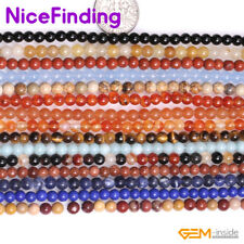 """4mm Natural Round Tiny Gemstone Spacer Seed Beads For Jewelry Making Strand 15"""""""